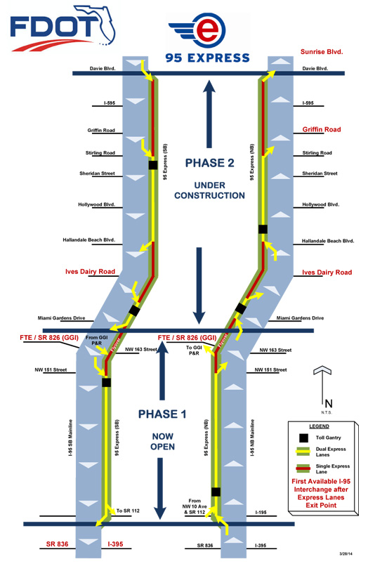 I95 Map Florida.Express Lanes Entry Exit Points 95 Express