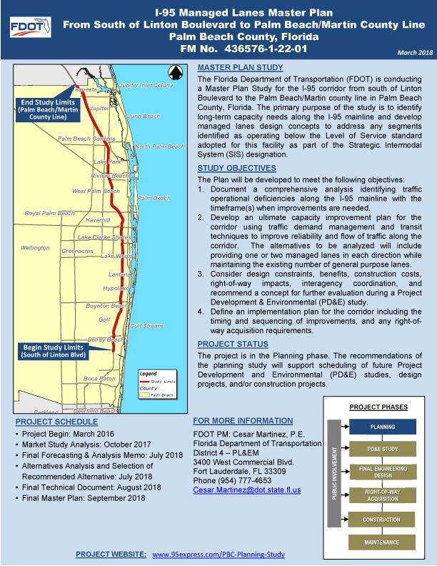 I 95 Map Florida.I 95 Managed Lanes Master Plan Palm Beach County 95 Express