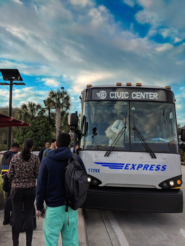 BB&T Express Bus - People Boarding